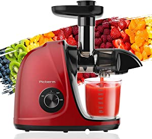 Juicer Machines, Picberm Slow Masticating Juicer with Brush and Easy to Clean, Cold Press Juicer with Quiet Motor and Reverse Function, Juicer Extractor, Recipes for Fruits and Vegetables