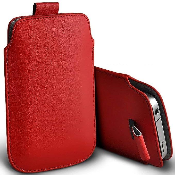 I-Sonite (Red) Premium Slip In Pull Tab Sleeve Faux Ledertasche Für Doogee Y6 Piano Black [ XXL ]