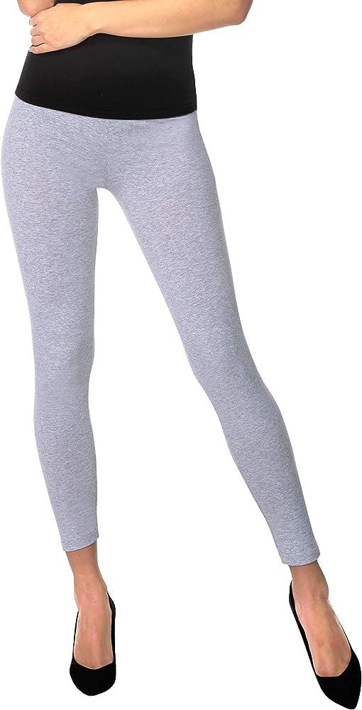 BeComfy Leggings para Mujer Opaco Polainas de Algodón Negro Gris Azul marino Bianco Grafito Azul Rosa Beige Violeta Verde 36, 38, 40, 42, 44, 46, 48, 50, 52, 54, 56 (S, Gris): Amazon.es: Ropa y accesorios