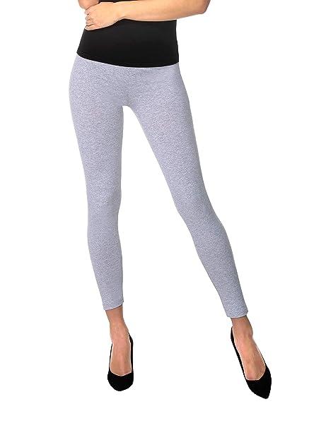100f8cb0332ca6 BeComfy Damen Leggings Knöchellang Blickdichte aus Baumwolle Casual Lange  Hosen Schwarz Rot Grau Graphit Beige Blau