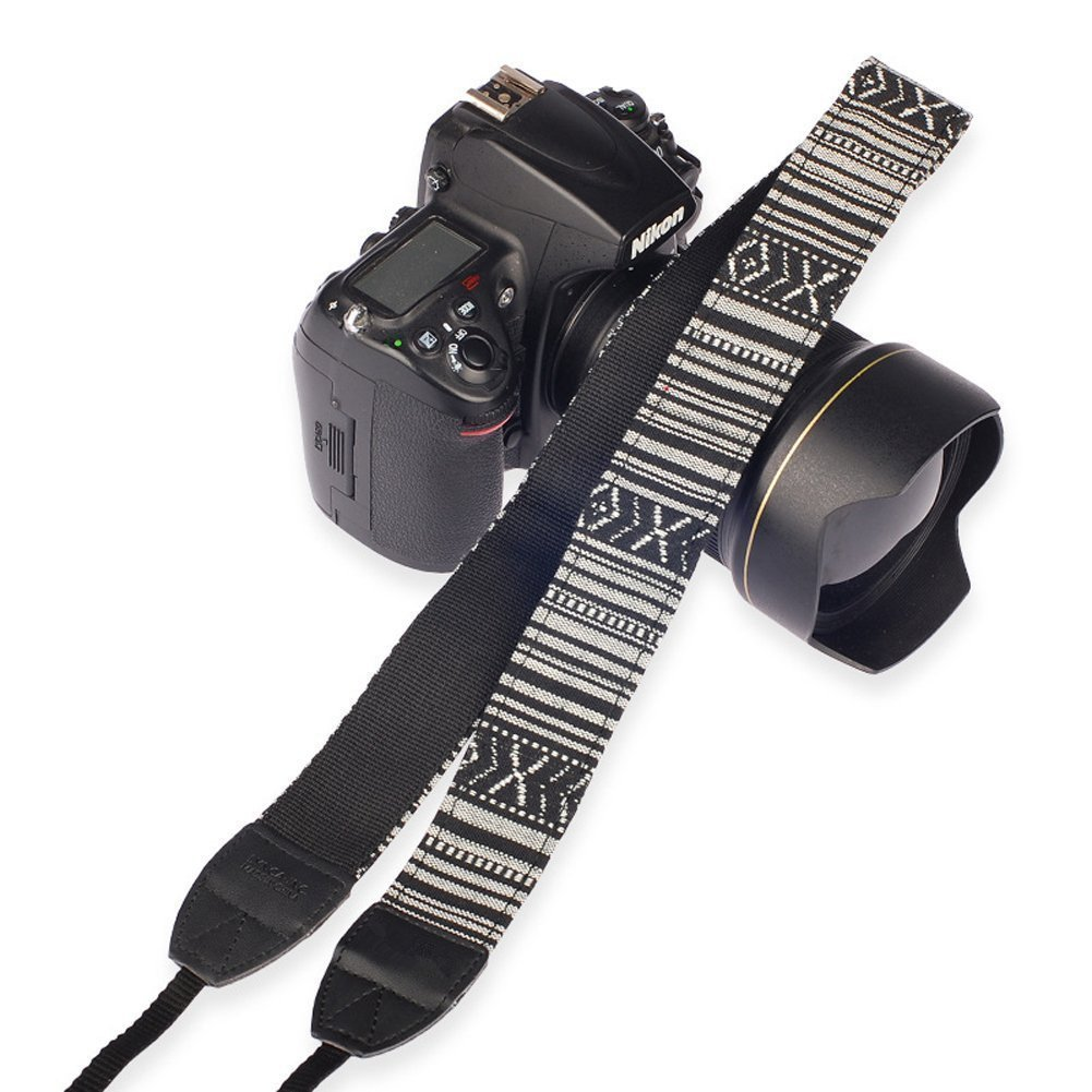 BlueBeach - alta calidad de algodón universal ajustable de hombro videocámara de la cámara del cuello de la correa de la correa con adaptador de arnés de cuero y extremos. Los diseños incluyen vintage, arte tribal, Lunares, Diamante con dibujos, Imprimir.