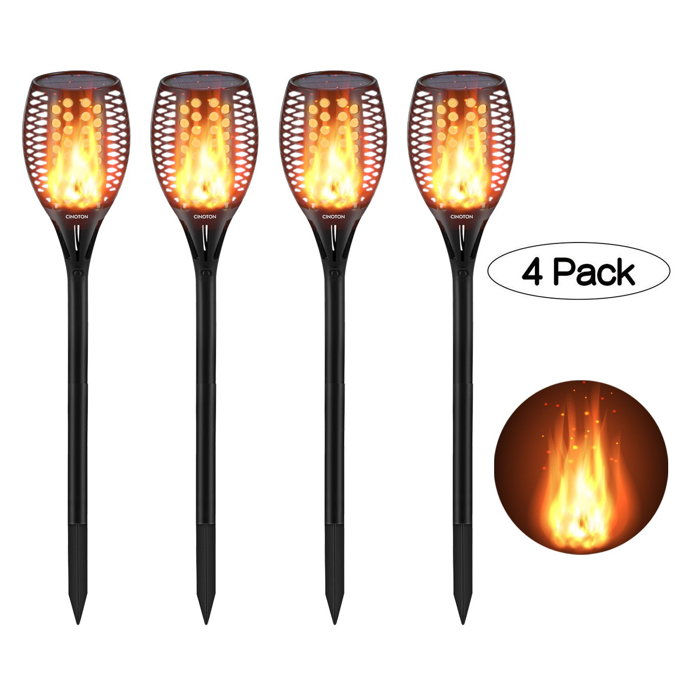 CINOTON Solar Light,Path Torches Dancing Flame Lighting 96 LED Dusk to Dawn Flickering Outdoor Waterproof garden decorations (4) by CINOTON