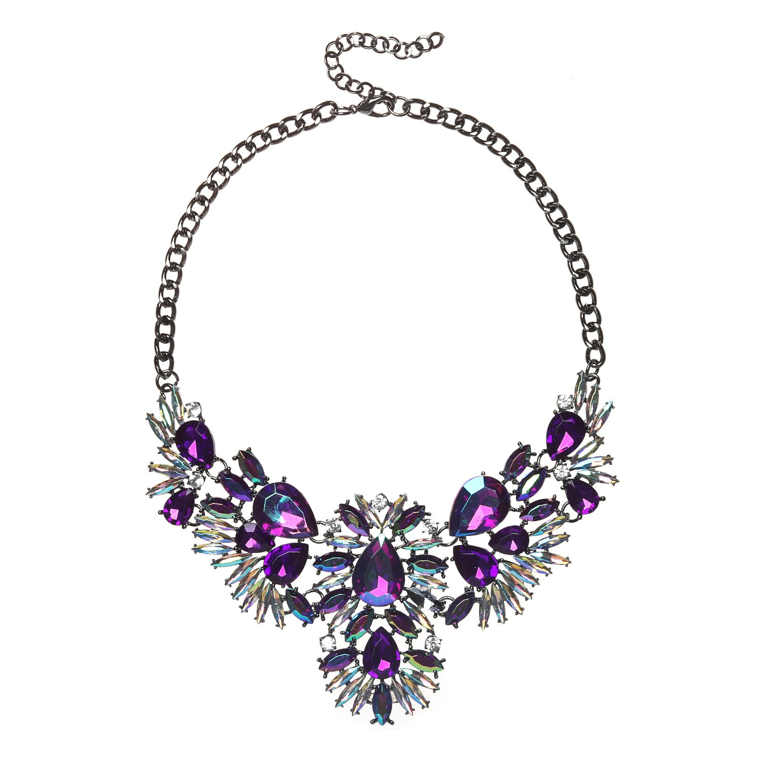 Holylove Charming Choker Necklace in Purple Glass Beads & Crystal with Gift Box- HLN00021 Purple