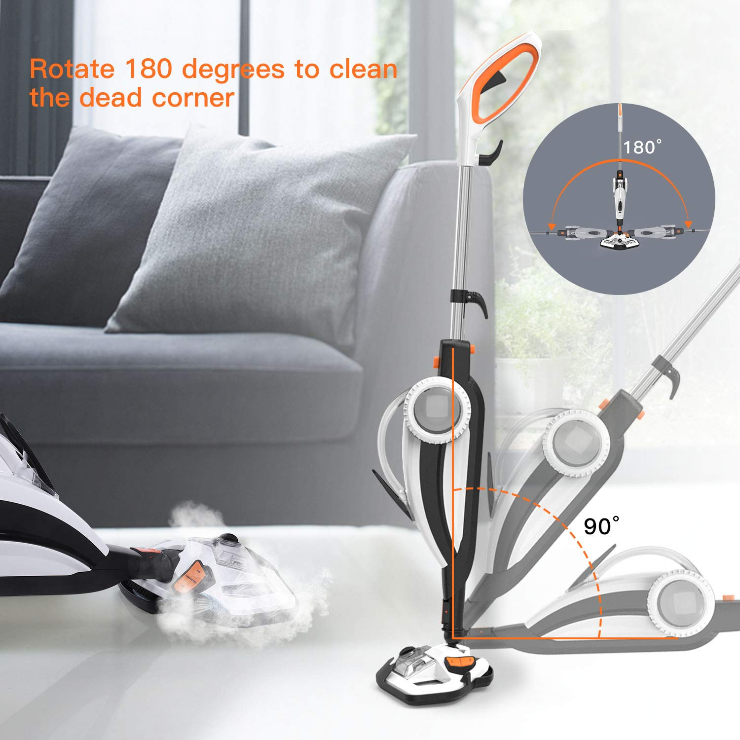 TACKLIFE Steam Mop, Steam Cleaner Multifunction Floor Steamer and Hand-held Steam Floor Mop 2 in 1, 1400W Portable Electric Scrubber Heating in 5s, with 11 Accessories by TACKLIFE (Image #5)