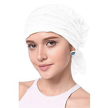 601e197e426 Amazon.com   Fashion Retro Women Chiffon Fold Ripple Chemo Cap Headband  Scarf Turban Headwear Beige White   Beauty