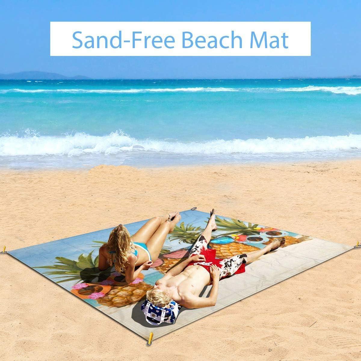 Oversized Stadium Blanket Quick Drying Sand Free Ground//Grass Mat for Beach Music Festival Travel Beach Pineapple Compact Duarable Beach Blanket Camping Blanket CENSIHER Picnic Blanket