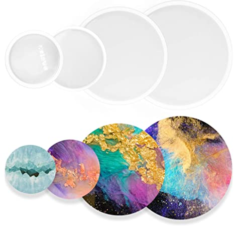 Home Decoration aux Agate Slices Silicone Coaster Resin Molds,4 Pack Irregular Silicon Resin Molds Hollow Agate Coaster Epoxy Molds for Making Coaster