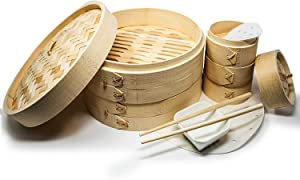 BOTANU Bamboo Steamer Basket Makes - Your Favorite Recipes - Multipurpose Bamboo Steamer 10 Inch + 4 Inch Set - Sturdy Dumpling Steamer Basket Includes Liners - Quick & Easy to Use Bao Steamer