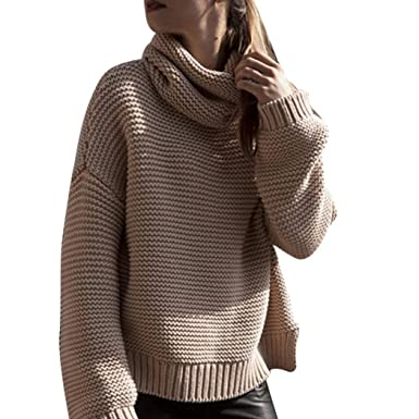 6c499b1b438 Moonuy Large Pull col roulé Femme Pull Femme Hiver Sweater Grosse Maille  Sexy Pull Laine Shirt