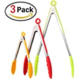 "ZesGood Set of 3 Stainless Steel Food Tongs with Silicone Tips and Silicone Pot Holder, 3 Colors, 8"" 10"" 13"""