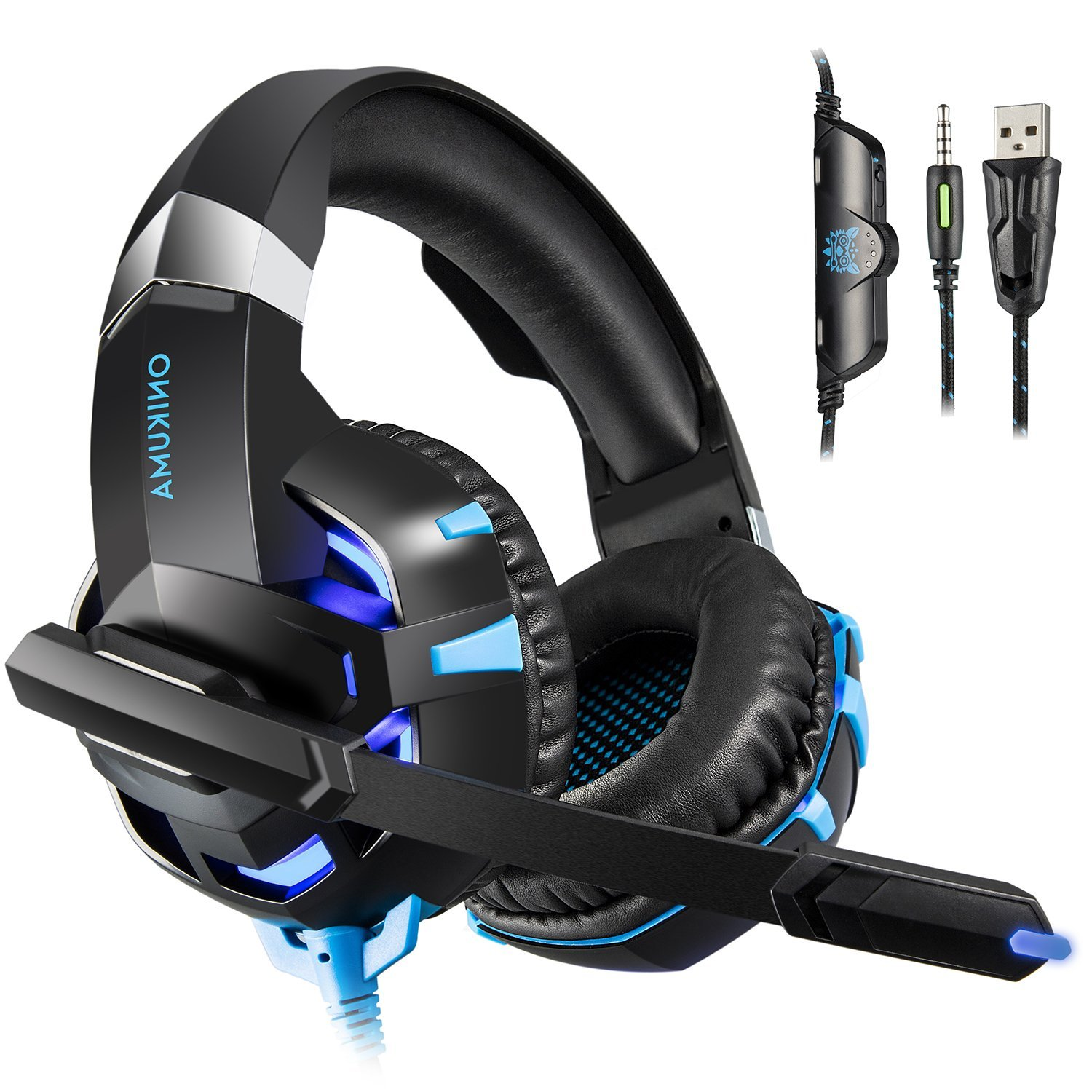 ONIKUMA K2 Gaming Headset - Headset Gaming Headphones for PS4, Xbox One, PC, Nintendo Switch, Mac, Laptop with Noise Cancelling Micphone, Soft Memory Earmuffs & LED Light