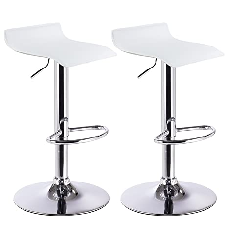 WOLTU BH11ws Sgabelli da Bar Sedia Club Cucina Alta con Poggiapiedi  Similpelle Cromato Regolabile Girevole Moderno Bianco Coppia 2 Pezzi
