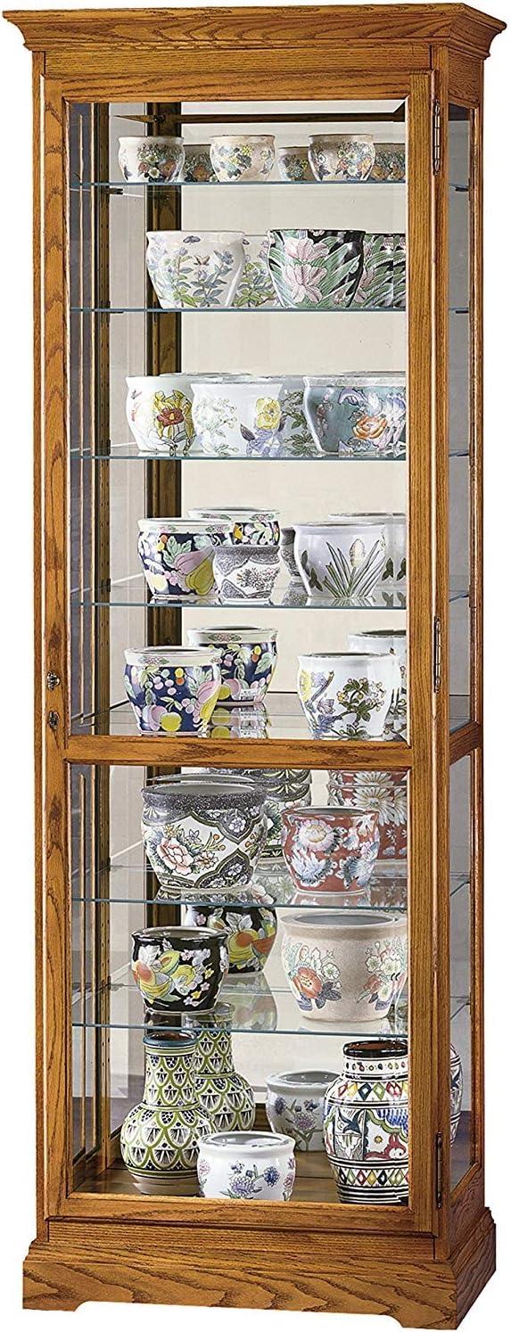 Howard Miller Chesterfield II Curio Cabinet 680-288 – Golden Oak Glass Display Shelf Case with Light