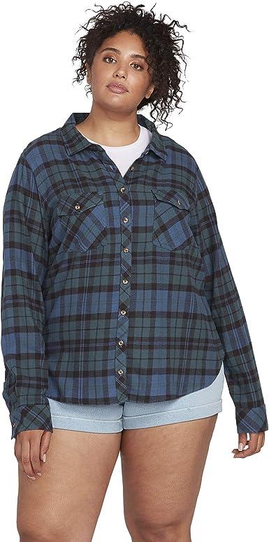 Volcom - Camisa de franela de manga larga para mujer: Amazon.es: Ropa y accesorios