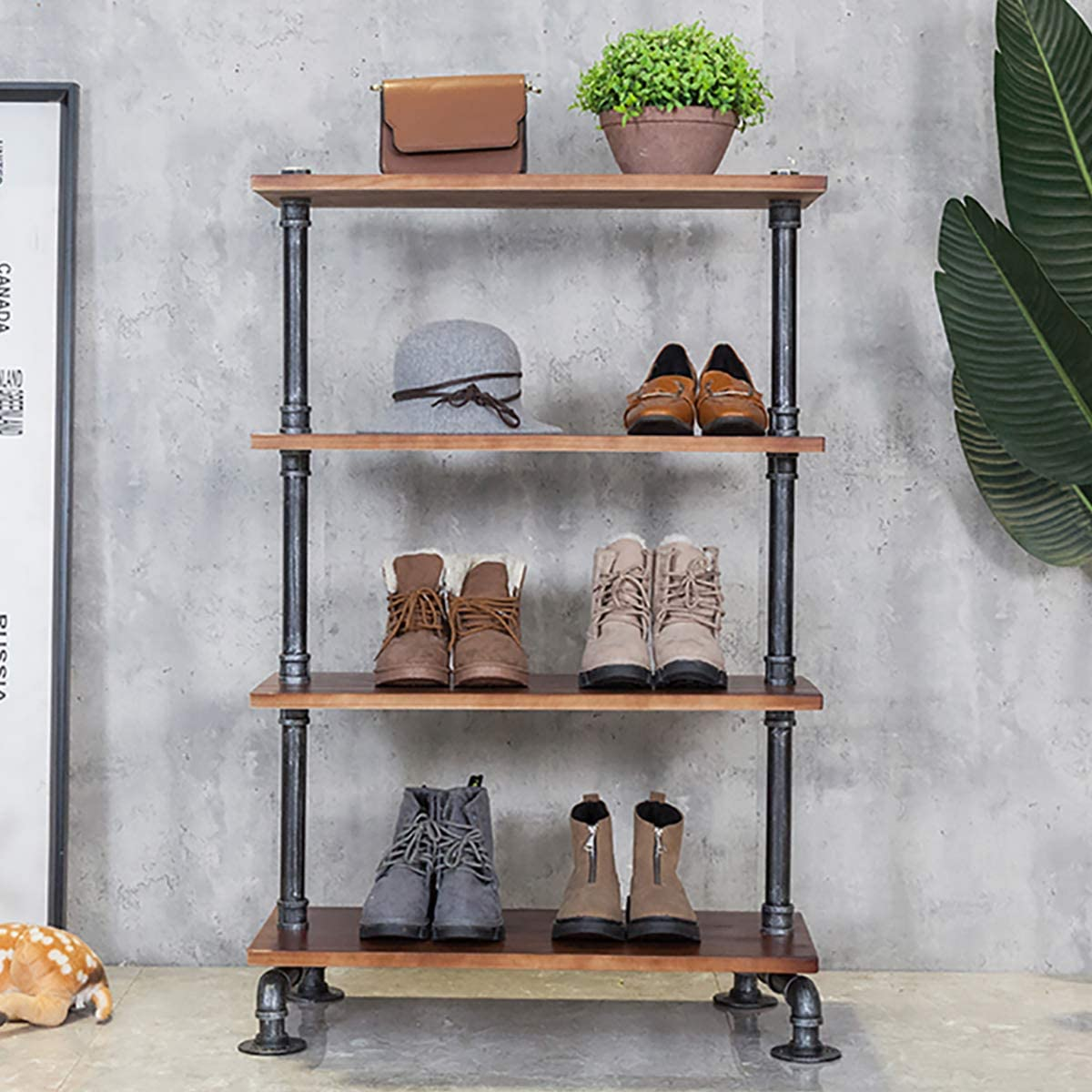 Industrial 4-Tier Pipe Wood Shelf Display Rack, Floor Shoe Organizer, Clothing Storage, Bag Holder, Bookshelf, Tool Holder, for Home/Shop/Office 27.6'' x 11.8'' x 43.3''