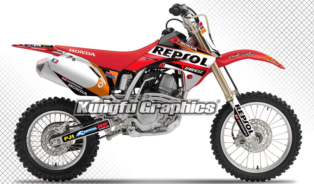 Kungfu Graphics HRC Custom Decal Kit for Honda CRF150R 2007 2008 2009 2010 2012 2013 2014 2015 2016, Red Black White