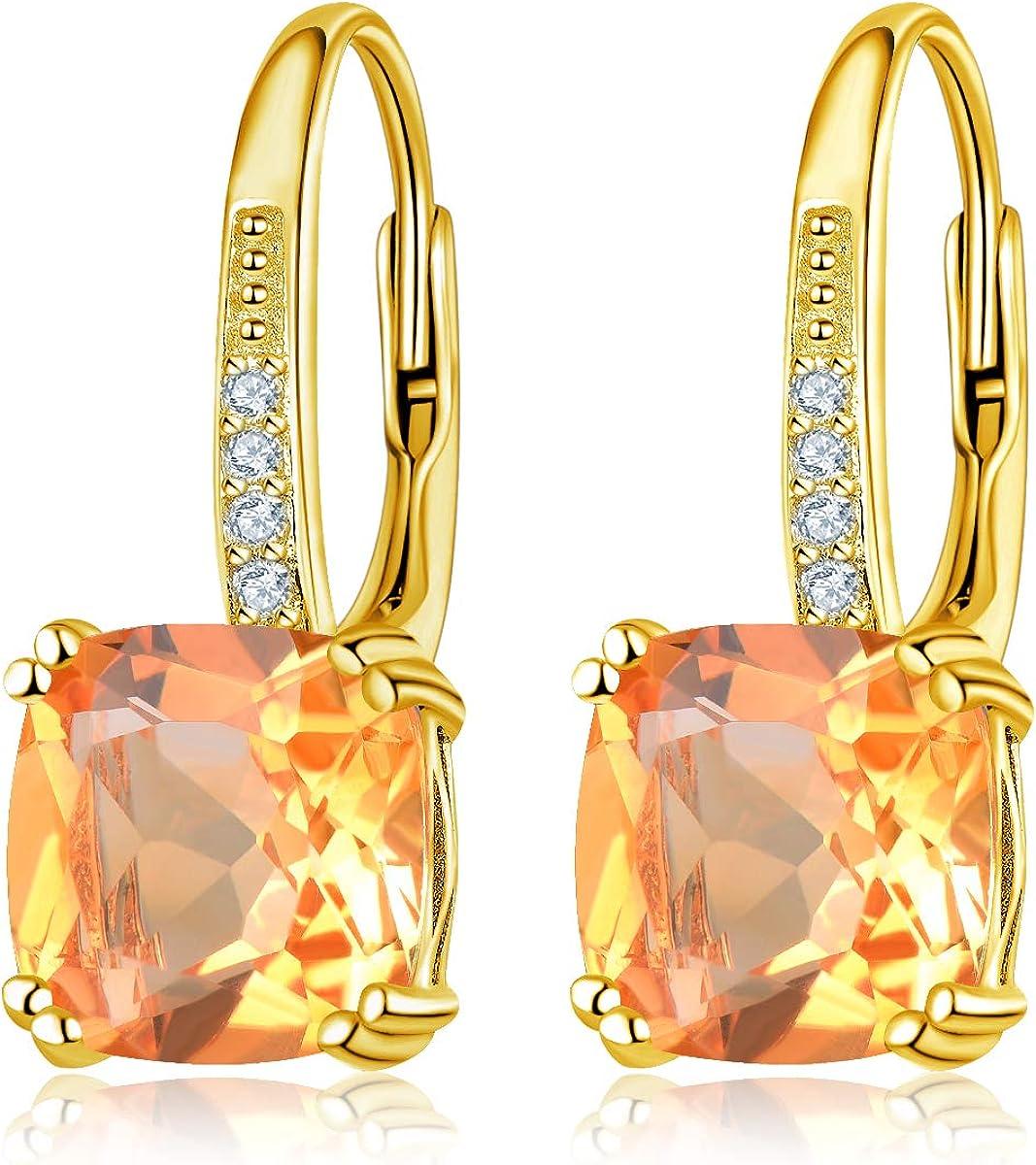Hutang - Pendientes de gota de citrino de plata de ley 925, oro amarillo 100% natural, 8 mm, piedras preciosas finas, joyería de cristal para mujer