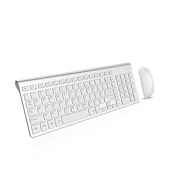 Wireless Keyboard and Mouse Combo, 2.4G Thin Portable Fullsize Keyboard and Rechargeable Mouse for Laptop,Desktop,Notebook,Computer,Smart TV -White+Silver (Color: Silver and white)