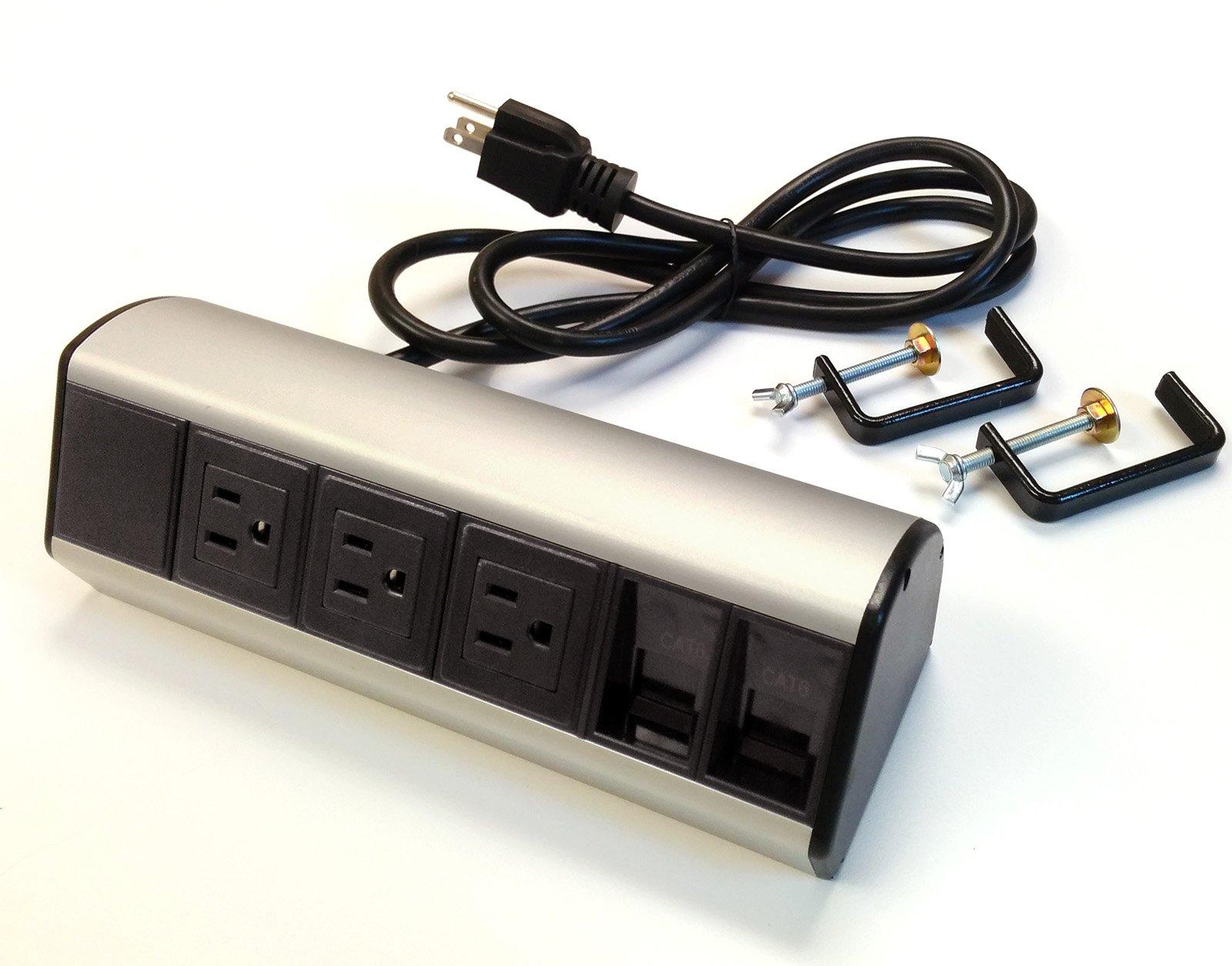 Power & Data Desk Edge Mount Tabletop Center - 3 Power and 2 Ethernet CAT6 RJ45 Data ports