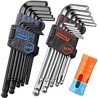 REXBETI Hex Key Allen Wrench Set, SAE Metric Long Arm Ball End Hex Key Set Tools, Industrial Grade, Bonus Free Strength…
