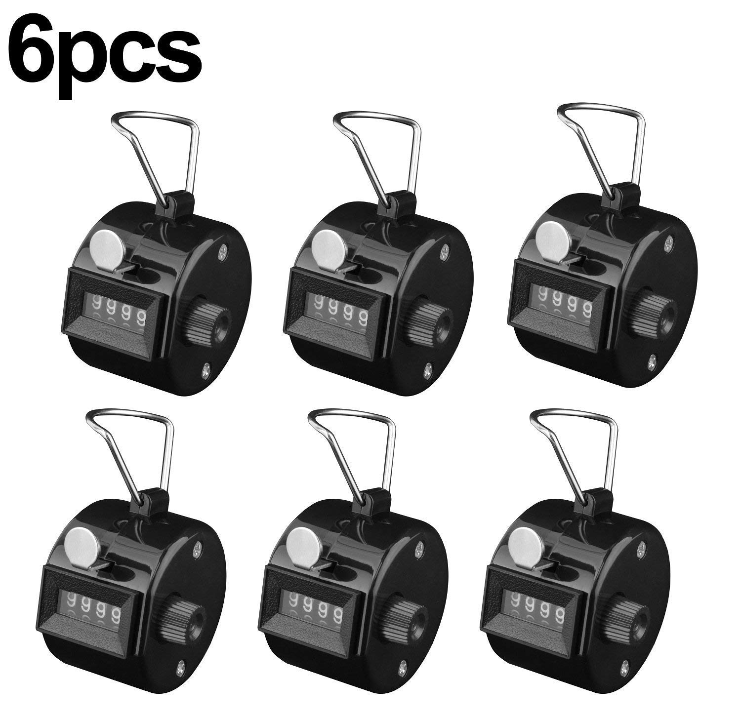 Maogear Pack of 6 Black Hand Tally Counter 4 Digit Tally Counter Mechanical Palm Click Counter Count Clicker Assorted Color Hand Held Counter Clicker for Sport Stadium Coach Casino and Other Event (6 pack)
