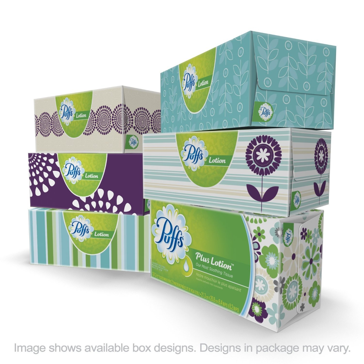 Puffs Super Size Value Package Plus Lotion Facial Tissues Family Boxes, 24-Count (124 tissues per Box)