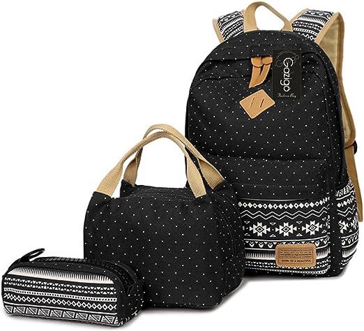 Set 3 Rucksacks Women Girls Dot Backpack Canvas Travel School Shoulder Book Bags