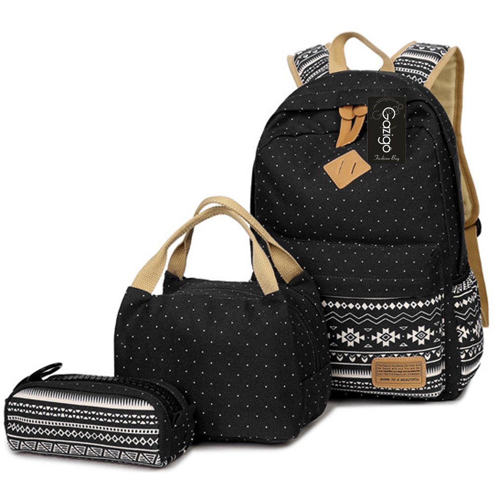 9d1cc58bfbc Amazon.com  Gazigo Geometry Girls Canvas College Laptop Backpack + Lunch Bag  (Casual daypacks k3 Black Sets)  Toys   Games
