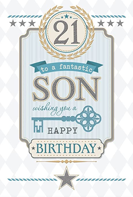 Write From The Heart Son 21st Birthday Card 21 Today Grey Text