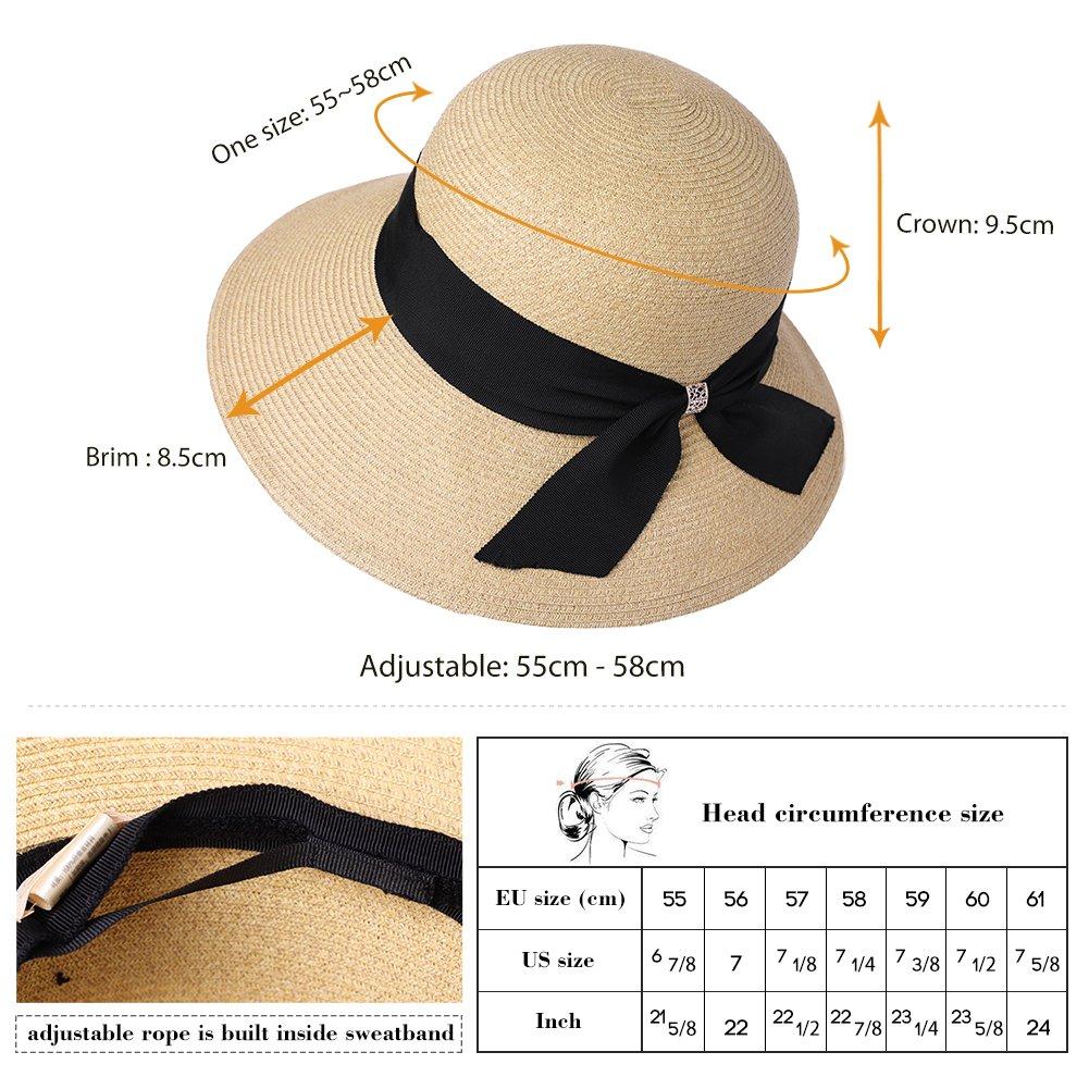 8284f427e84 Ladies Summer Sun Hat Women Floppy Panama Straw Beach Hats Foldable Wide  Brim Fedora - UPF 50 ...