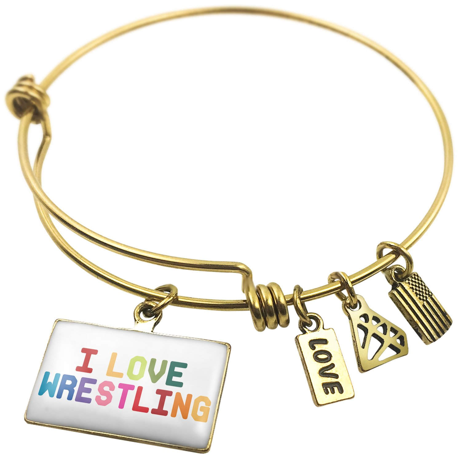 Expandable Wire Bangle Bracelet I Love Wrestling,Colorful - NEONBLOND