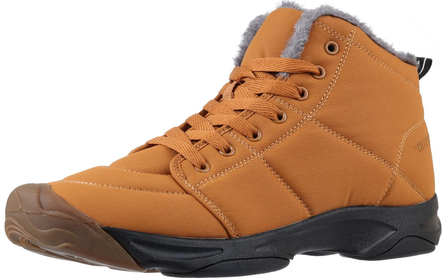 WHITIN Men's Winter Shoes Snow Boots Casual Outdoor for Cold Weather Warm Work Insulated Fully Fur Lined Hiking Waterproof Lightweight Lace Up Non Anti-Slip Brown Tan Size 8