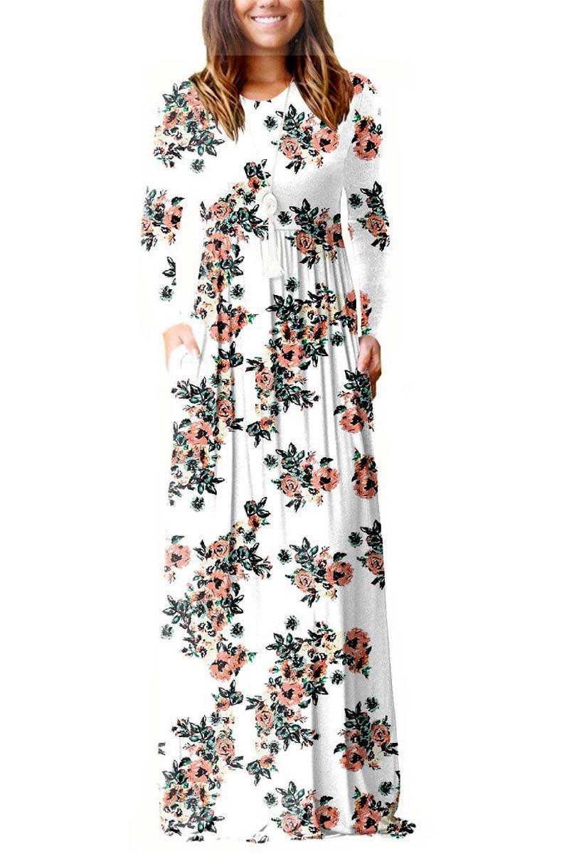 ESONLAR Floral Slim Fit Full Length Dress for Women Ladies High Waist Pleated Loose Plain Casual Maxi Dress White S