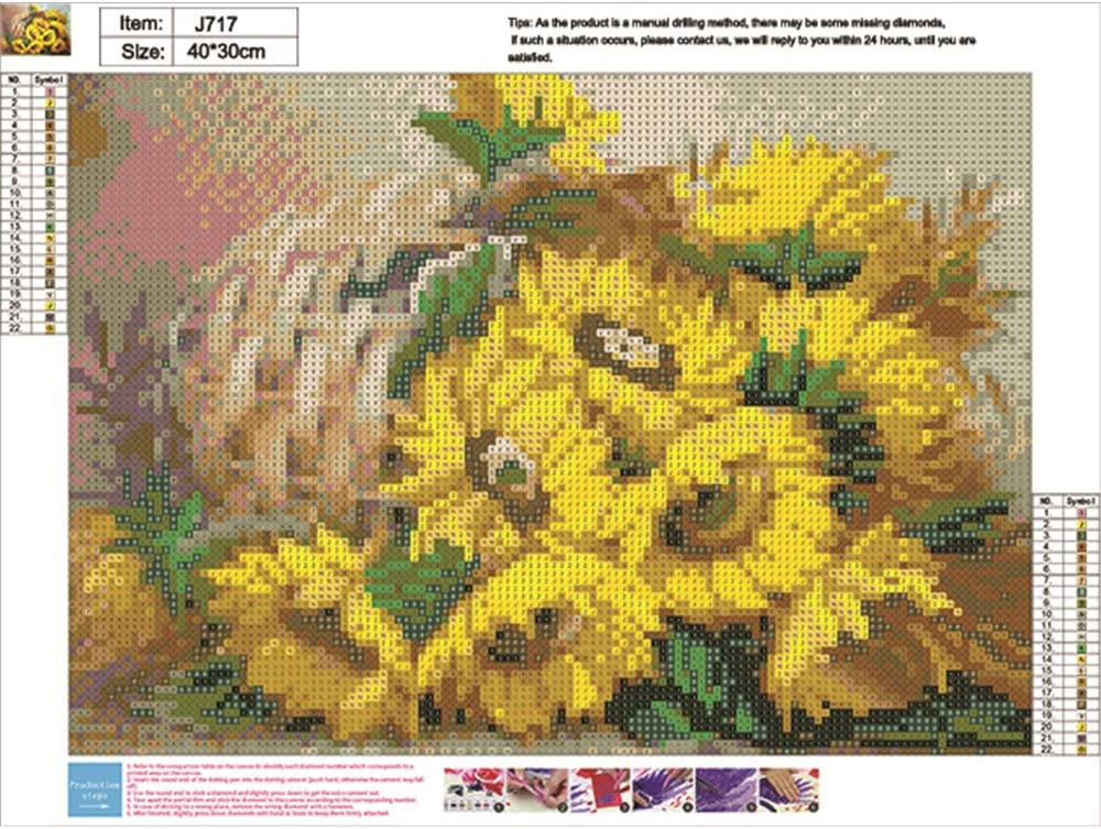 Embroidery Arts,Cross Stitch Arts,Craft Home Decor Flower C 40x30cm DIY Full Round Drill Diamond Rhinestone Painting Kits for Adults and Children 5D Diamond Painting