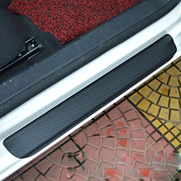 Universal 4D Carbon Fiber Door Sill Guard Protector Trim Covers fits for Car Truck SUV Anti Scratch Kick Plate Sticker with Sports Car Pattern Red 4 Pcs