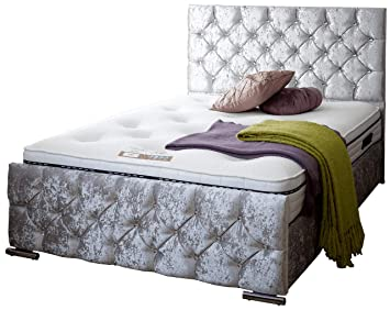 low priced 0fb9a e15a5 4FT SMALL DOUBLE CRUSHED Grey iBEX Bed Frame in Crushed Velvet or  Upholstered Storage Bed Frame. UK