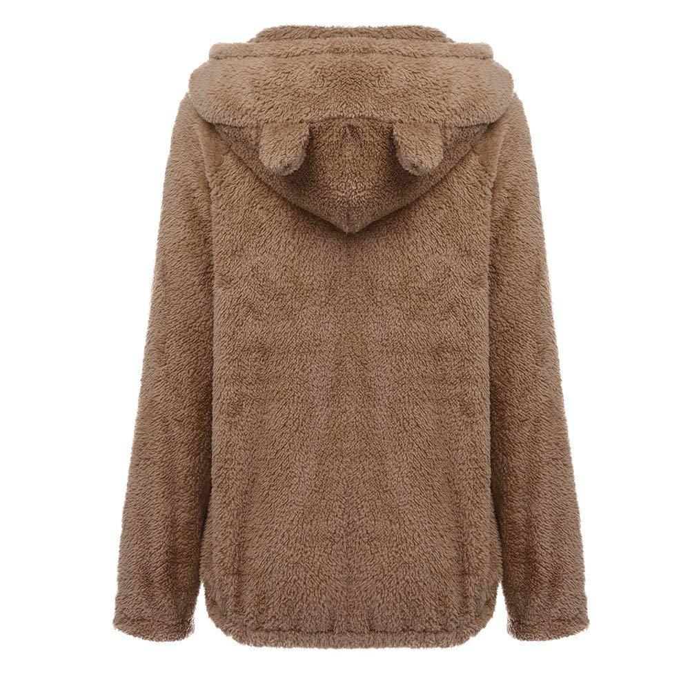 VIASA/_ Teddy Bear Hoodie Coat for Womens Long Sleeve Fleece Sweatshirt Warm Bear Shape Fuzzy Hoodie Sweater Pullover