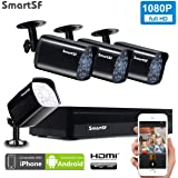 SmartSF CCTV 2.0 MP Kit de videovigilancia, 4CH 1080P HD AHD DVR 4x1080p 1500TVL Cámara de Vigilancia, con visión Nocturna, detección de Movimiento, Smartphone, PC fácil Acceso Remoto, sin HDD
