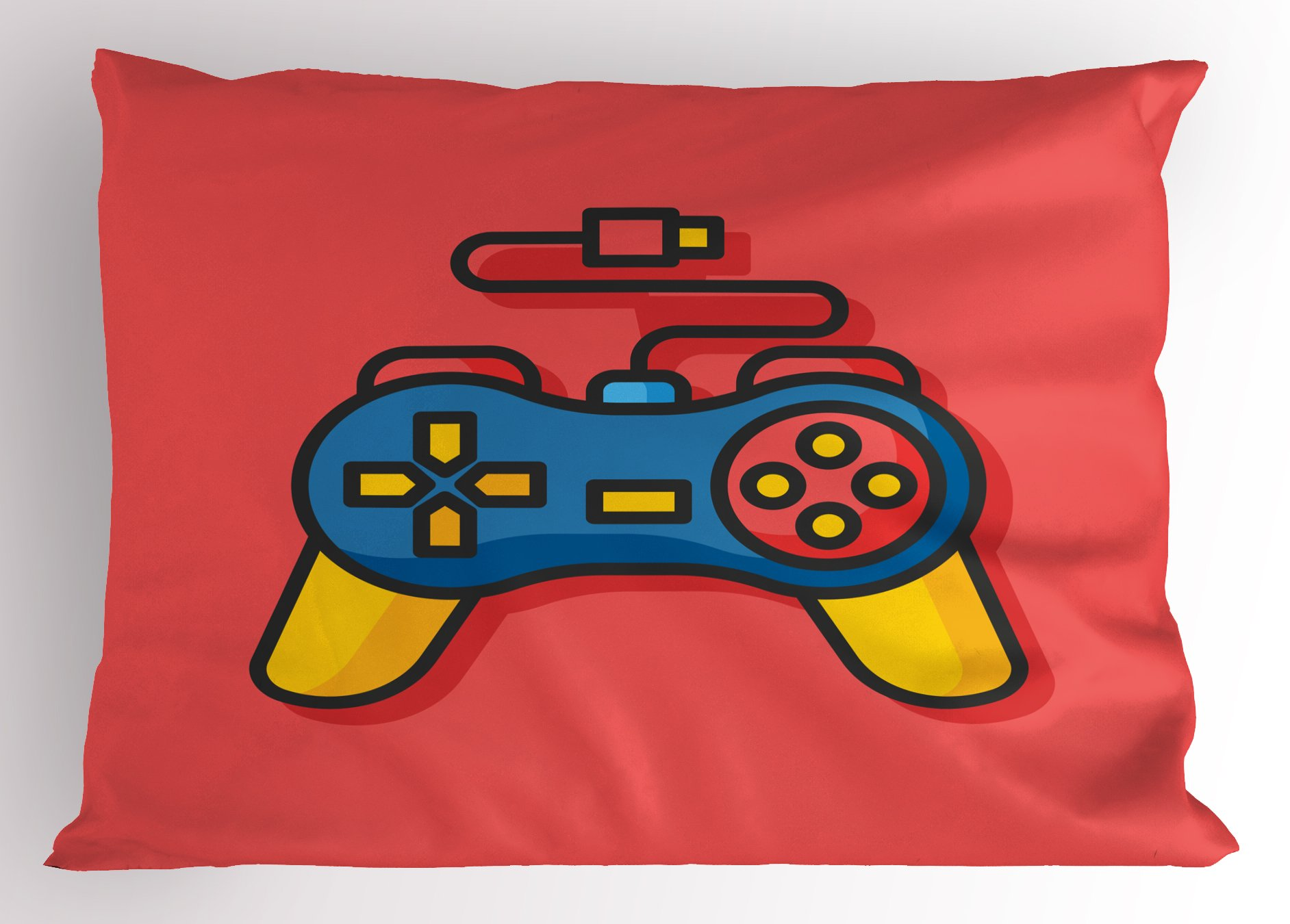 Lunarable Gamer Pillow Sham, Old School Colorful Videogame Controller with Minimalist Style D-Pad and Triggers, Decorative Standard Queen Size Printed Pillowcase, 30 X 20 inches, Multicolor