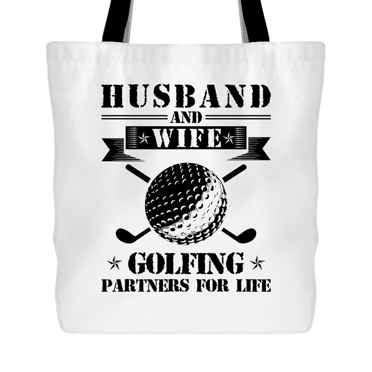 Amazon.com: Golfing Tote Bag - Husband And Wife Golfing Handbags Design (White Tote Bag): Shoes