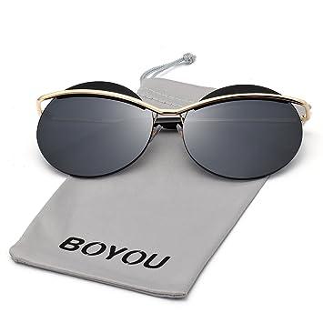 BOYOU Marco de las gafas de sol del ojo de gato de metal las mujeres con lentes de espejo y la protección UV400