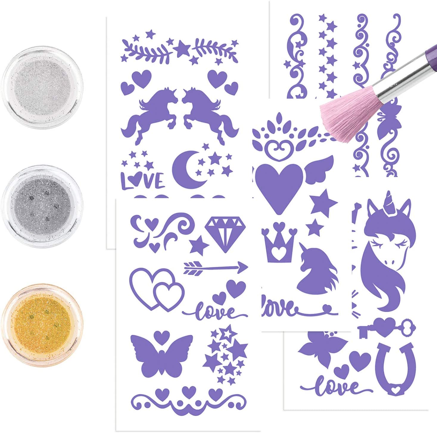 con 44 Tatuajes Adhesivos 14 x 15,5 x 2 cm Depesche- Ylvi /& The Minimoomis-Set Aprox 11326 3 Botes de Polvo de Purpurina y un Pincel