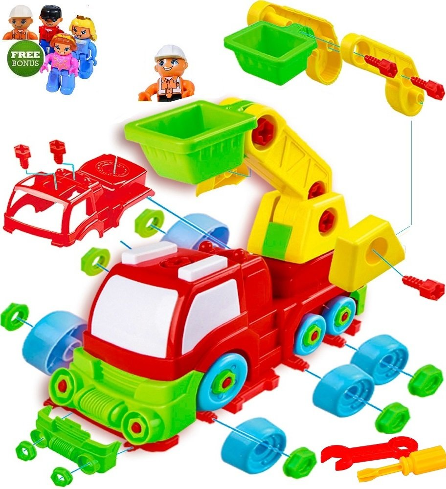 FUNERICA Take Apart Toy Fire Truck - with Free Bonus: 5 Toy Figures - A DIY Assemble/Disassemble Toy Firetruck with 33 Pcs and Tools - Educational Truck Engineering Toy Take-A-Part