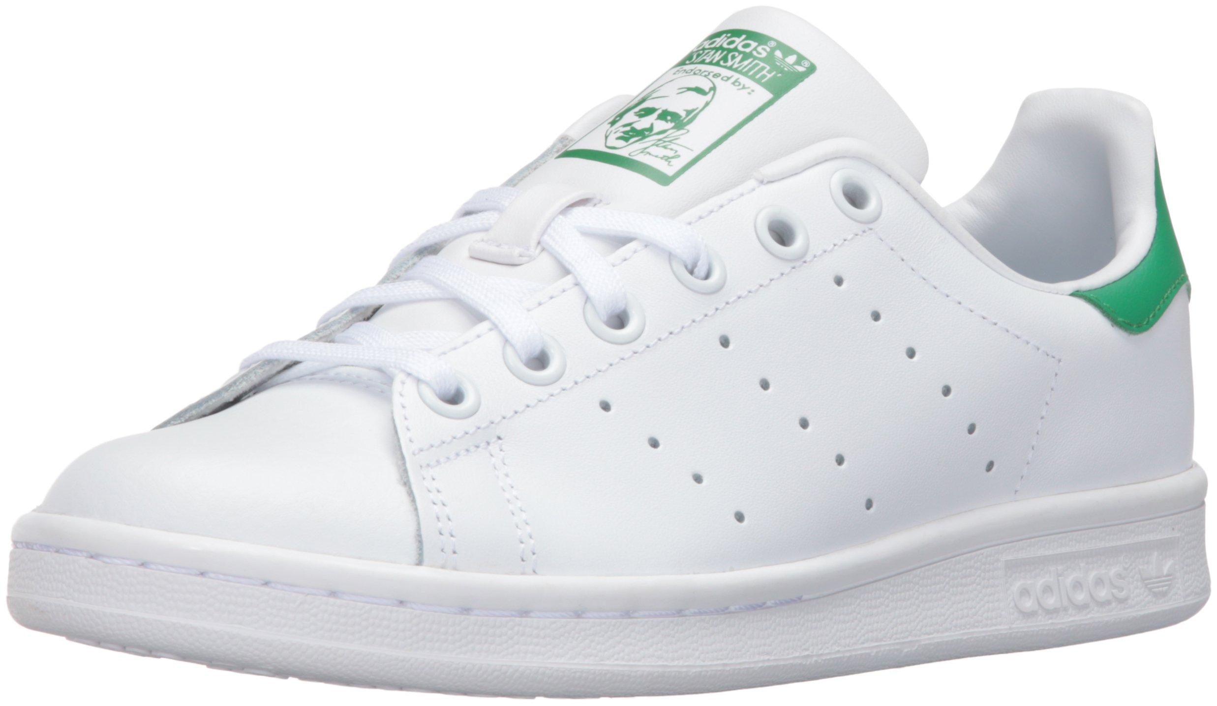 adidas Originals Boys' Stan Smith J Shoe, White/White/Green, 4.5