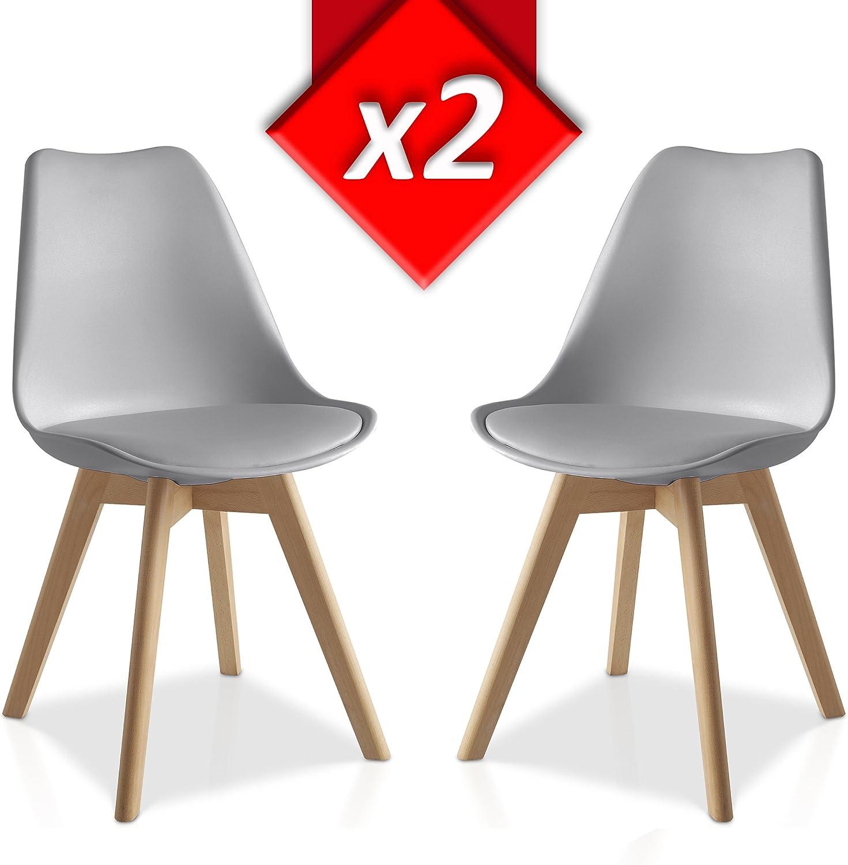 VS Venta-stock Pack 2 sillas Lucia, Pata Madera y Asiento Acolchado, Estilo nórdico: Amazon.es: Hogar