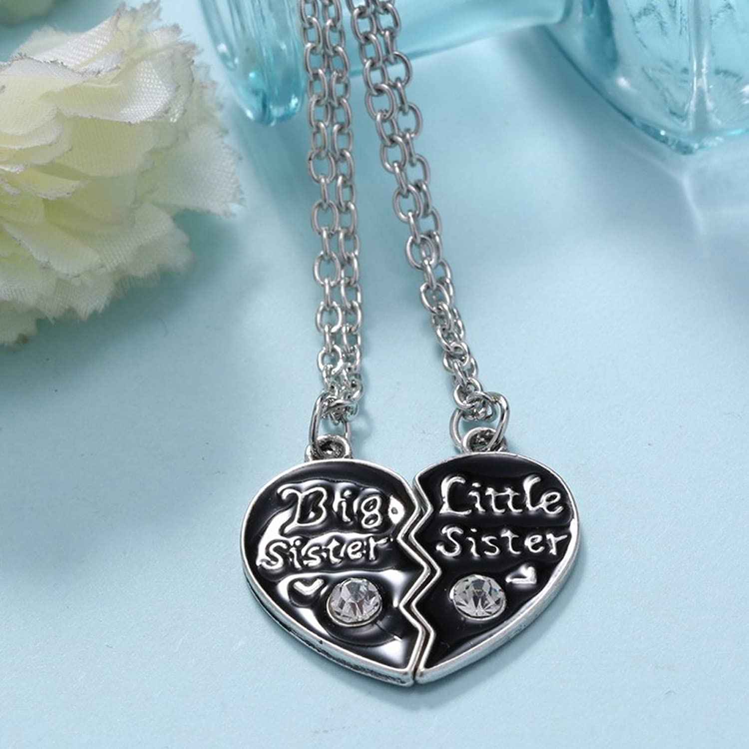 Buy generic sisters love combine heart pendant necklace chain buy generic sisters love combine heart pendant necklace chain silver black jewel for women online at low prices in india amazon jewellery store amazon mozeypictures Image collections