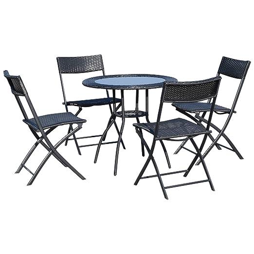 Tavolino Rattan Da Giardino.Outsunny Set 5 Mobili Da Giardino 4 Sedie Pieghevoli 1 Tavolino In