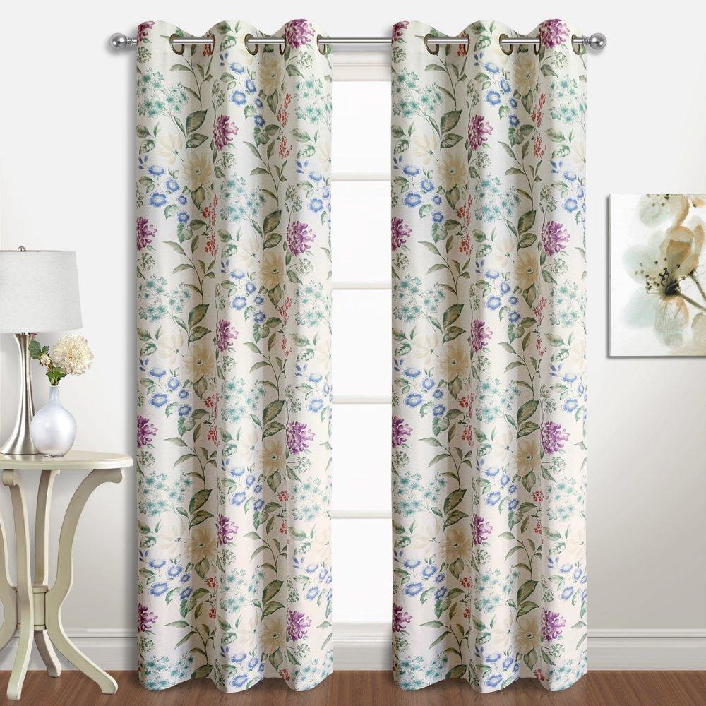 74 X 84 United Curtain CRN84MU Christine Window Curtain Panel Pairs Multi,,74 X 84 74 X 84