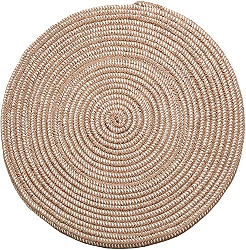 Hand Woven Round Area Rugs Living Room Bedroom Study Computer Chair Cushion Base Mat Round Carpet Lifts Basket Swivel Chair Pad Coffee Table Rug 4' Round