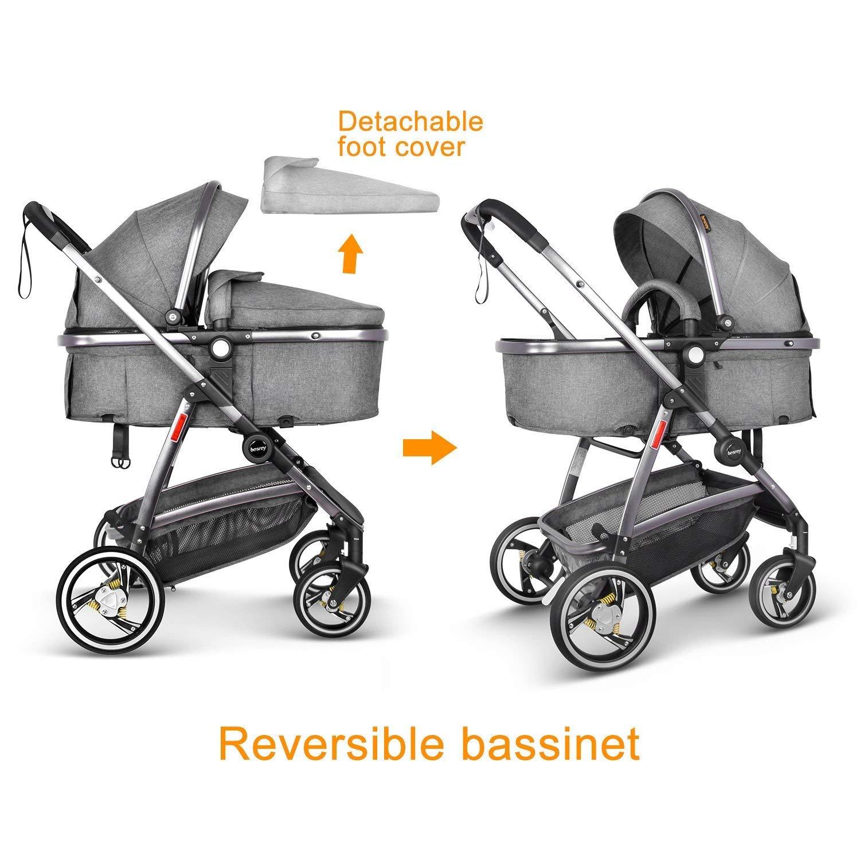 Besrey Sistema de viaje 3 en 1 Silla de Coche - Cochecito de bebé - Asiento para coche Gris